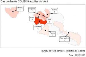 Polynésie : Carte du nombre de cas par commune