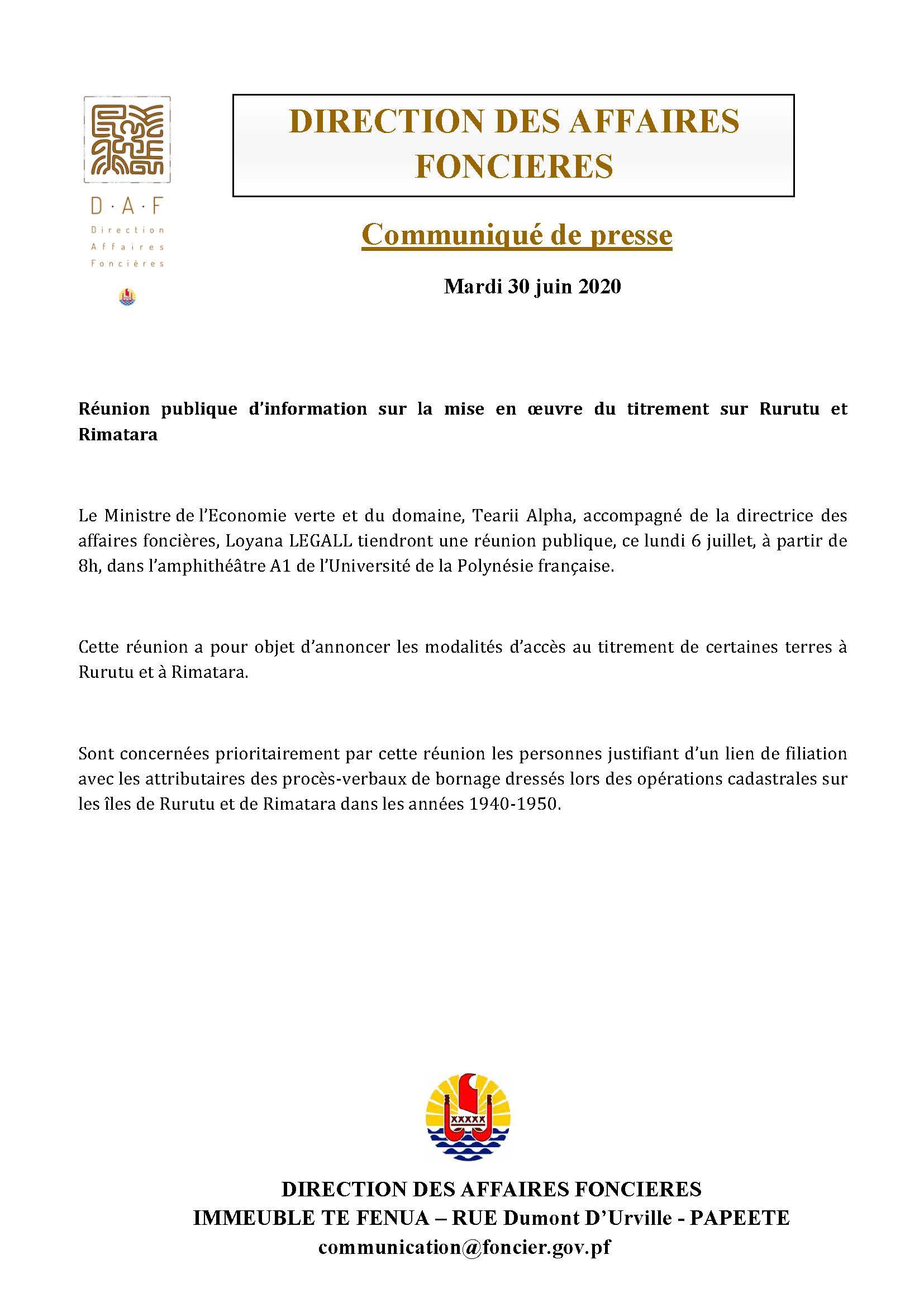 RÉUNION PUBLIQUE D'INFORMATION