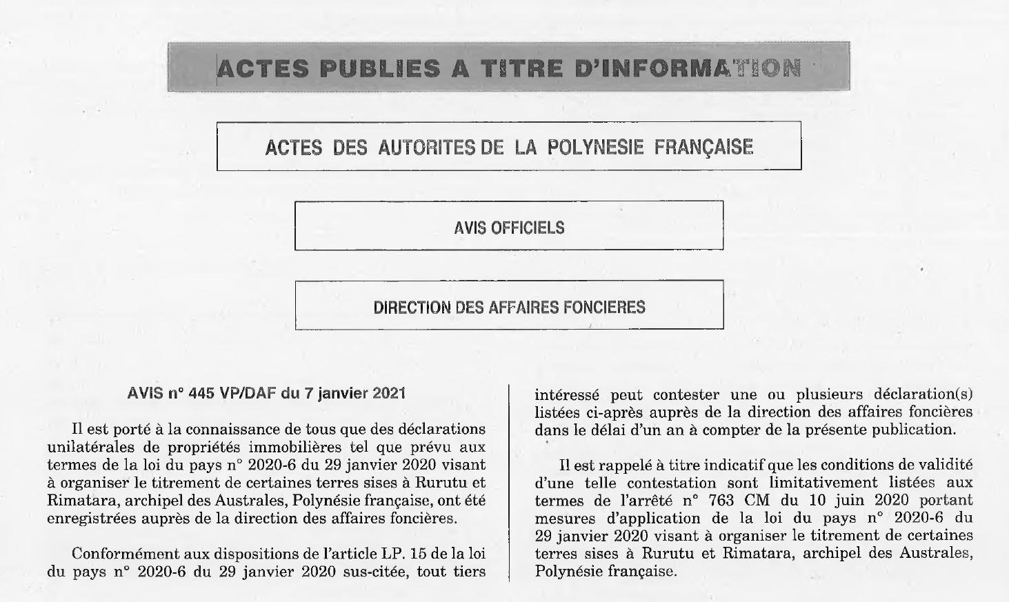 AVIS N°445 VP/DAF (7 janvier 2021)
