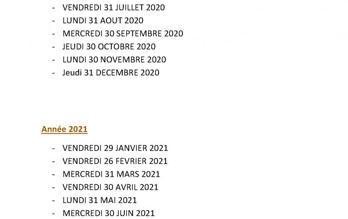 CALENDRIER DES FERMETURES COMPTABLES 2021