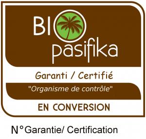 """Logo de garanti """" en conversion"""" Bio pasifika."""