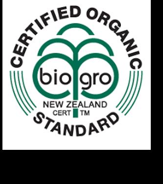 """Logo de la certification """"produit issus de l'agriculture biologique"""" de Nouvelle-zélande."""