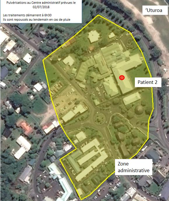 Carte de localisation des pulvérisations anti-moustiques, prévues le 02/07/2018 sur 'Uturoa.