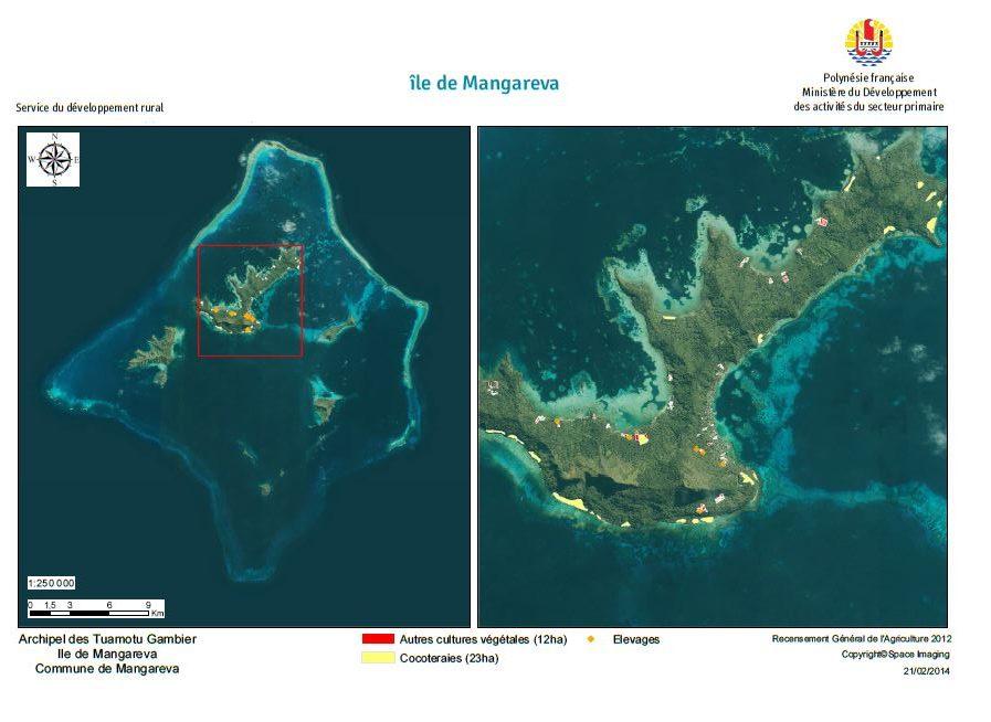 Image satellite de Mangareva. RGA 2012, Direction de l'agriculture.