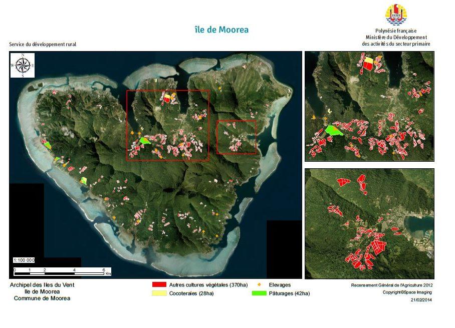 Image satellite de Mo'orea. RGA 2012, Direction de l'agriculture.
