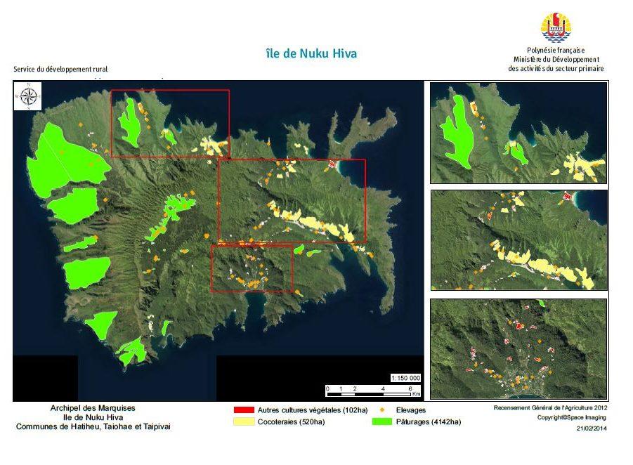 Image satellite de Nuku Hiva. RGA 2012, Direction de l'agriculture.