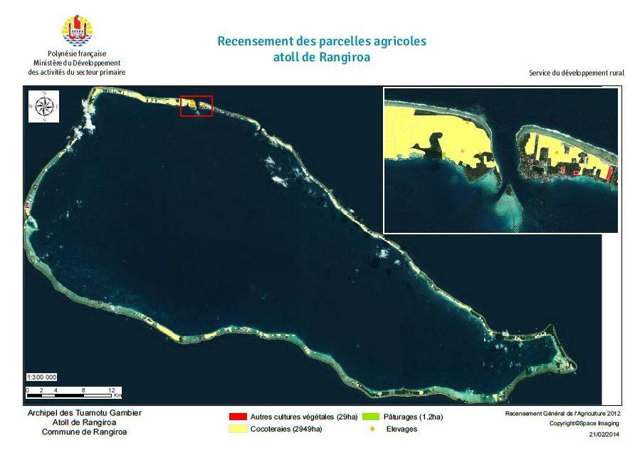Image satellite de Rangiroa. RGA 2012, Direction de l'agriculture.
