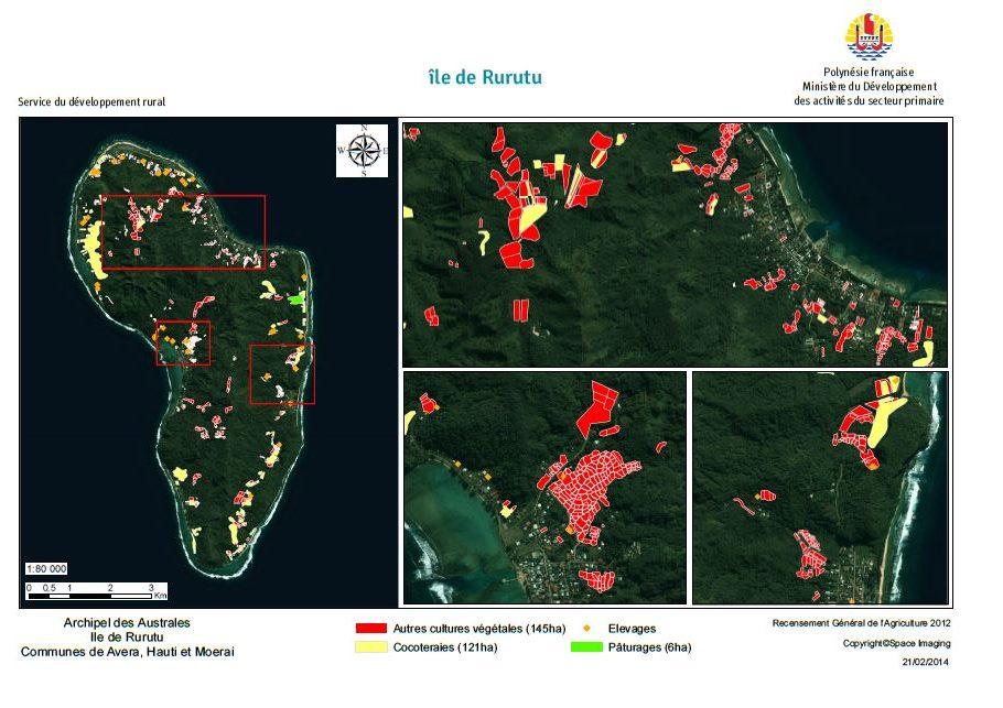 Image satellite de Rurutu. RGA 2012, Direction de l'agriculture.