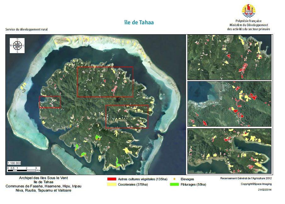 Image satellite de Taha'a. RGA 2012, Direction de l'agriculture.