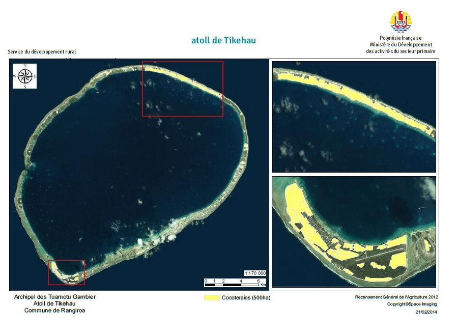 Image satellite de Tikehau. RGA 2012, Direction de l'agriculture.
