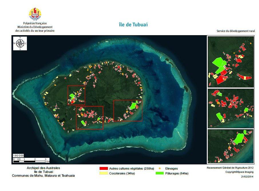 Image satellite de Tubuai. RGA 2012, Direction de l'agriculture.