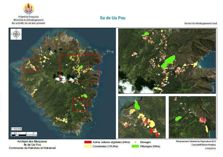 Image satellite de Ua pou. RGA 2012, Direction de l'agriculture.