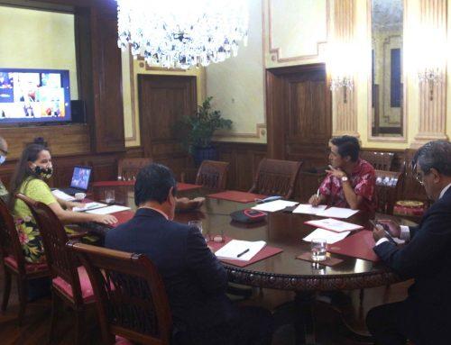 Visioconférence avec les dirigeants du Forum des îles du Pacifique et le secrétaire général de l'ONU
