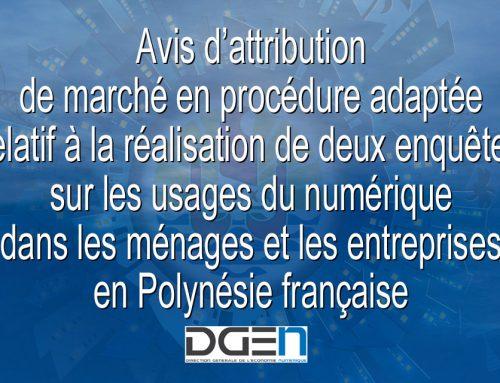 Avis d'attribution de marché en procédure adaptée relatif à la réalisation de deux enquêtes sur les usages du numérique dans les ménages et les entreprises en Polynésie française